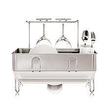 simplehuman Steel Frame Compact Dish Drainer Rack - Silver and White