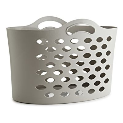 Short Flexible Cappuccino Plastic Laundry Washing Basket 55L