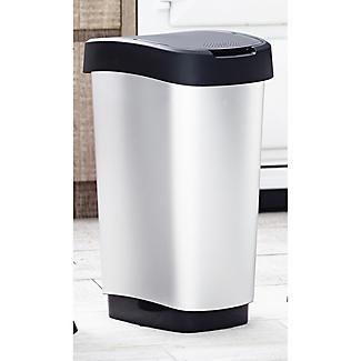 Rotho Kitchen Waste Flip Top Lid Bin - Metallic Effect 50L alt image 2