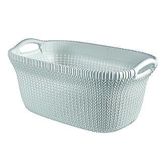 Knit-Effect Laundry Basket Blue