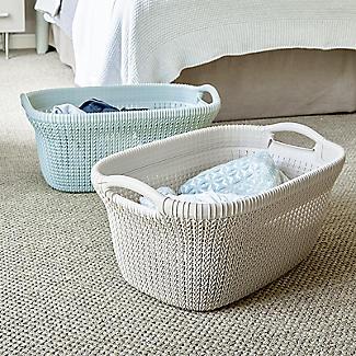 Knit-Effect Laundry Basket Blue alt image 2