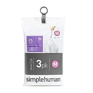60 simplehuman Size M Drawstring Bin Liners - White Bags 45L alt image 2