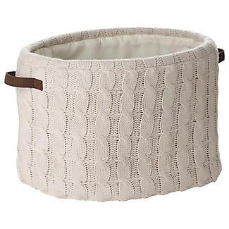 Oval Cream Cable Knit Storage Tote, 25L