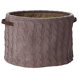 Oval Cappuccino Cable Knit Storage Tote, 25L