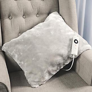 Pearl Grey Faux Fur Heated Cushion alt image 2