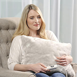 Pearl Grey Faux Fur Heated Cushion alt image 4