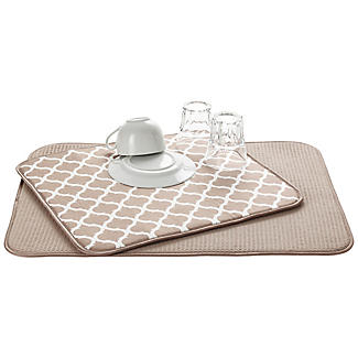 2 Double Sided Drying Mats Beige Trellis