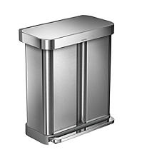 simplehuman Divided Recycle Kitchen Waste Pedal Bin - Silver 58L