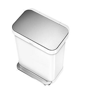 simplehuman Slimline Kitchen Waste Pedal Bin - White 55L alt image 3