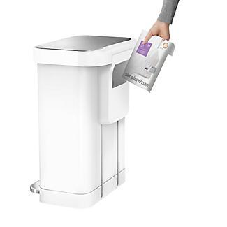 simplehuman Slimline Kitchen Waste Pedal Bin - White 55L alt image 5
