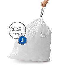60 simplehuman Size J Drawstring Bin Liners - White Bags 30-45L