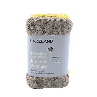 Lakeland 4 Microfibre Dual Action Kitchen Sponges - Citrus alt image 2