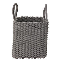 Square Woven Rope Tote Grey