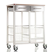 Hahn Double Onda Kitchen Trolley - Warm White and Beech