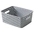 Small Faux Rattan Storage Basket Grey