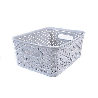 Small Faux Rattan Storage Basket Grey alt image 3