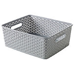 Medium Faux Rattan Storage Basket Grey