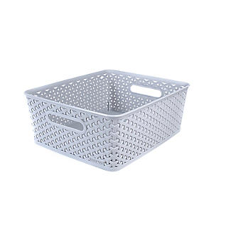 Medium Faux Rattan Storage Basket Grey alt image 4