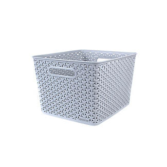 Large Faux Rattan Storage Basket Grey alt image 4