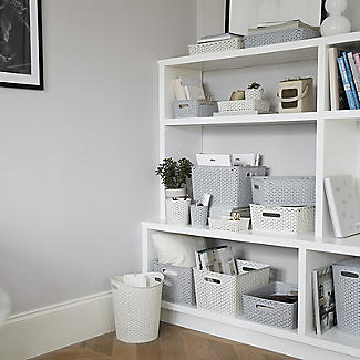 Large Faux Rattan Storage Basket Grey alt image 7