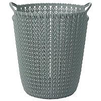 Mini Knit Effect Waste Paper Basket Blue