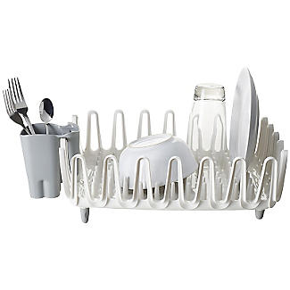 ILO Clam Shell Small Compact Dish Drainer Rack White and Grey