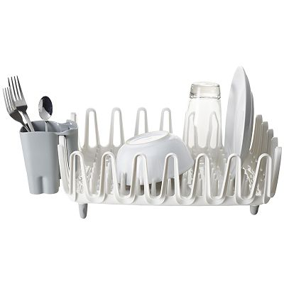 ILO Clam Shell Small Compact Dish Drainer Rack Bright WhiteGrey