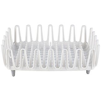 ILO Clam Shell Small Compact Dish Drainer Rack White and Grey alt image 2