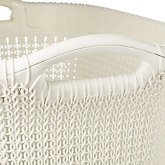 Knit Effect Laundry Basket Cream alt image 3