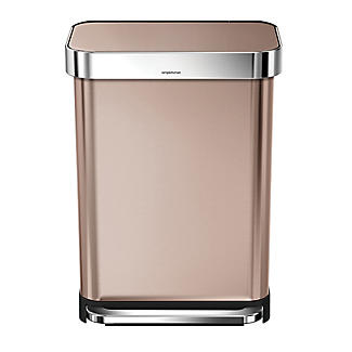 simplehuman Rectangular Pedal Bin - Rose Gold 55L