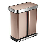 simplehuman Dual Compartment Pedal Bin - Rose Gold 58L