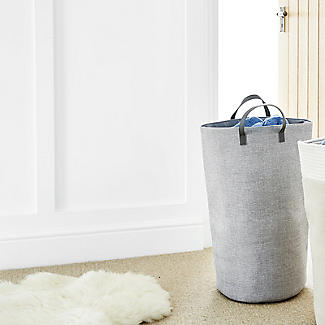 Standing Laundry Tote Basket 48L Grey alt image 2