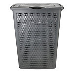 Rotho Lattice Effect Laundry Hamper 50L Slate Grey