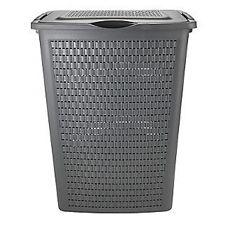 Rotho Lattice Effect Laundry Hamper 50L Slate Grey