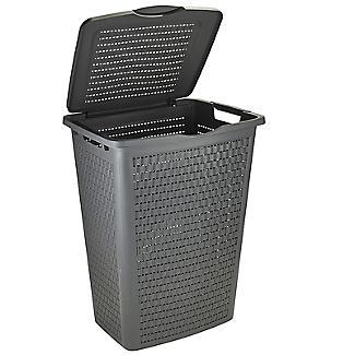 Rotho Lattice Effect Laundry Hamper 50L Slate Grey alt image 3