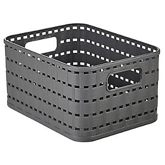 Rotho Lattice Effect Storage Basket Small - Slate Grey alt image 3
