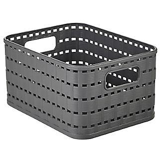 Rotho Lattice Effect Storage Basket Small - Slate Grey alt image 3