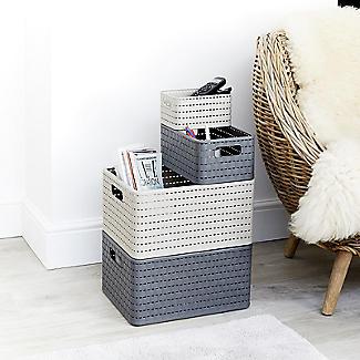 Rotho Lattice Effect Storage Basket Small - Slate Grey alt image 5