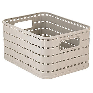 Rotho Lattice Effect Storage Basket Small - Stone alt image 1