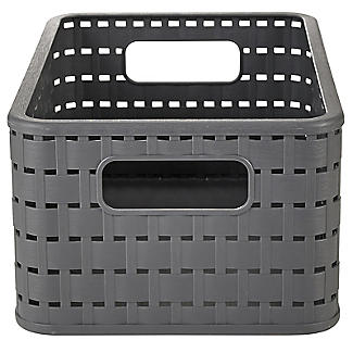 Rotho Lattice Effect Storage Basket Medium - Slate Grey alt image 2