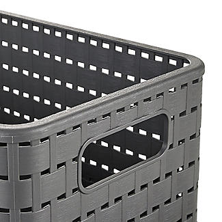Rotho Lattice Effect Storage Basket Medium - Slate Grey alt image 4