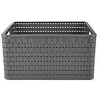Rotho Lattice Effect Storage Basket Large - Slate Grey