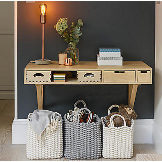 Oblong Woven Rope Tote Grey 32L alt image 2