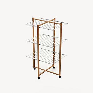 Italian Design Folding Wooden 3-Tier Tower Clothes Airer alt image 3