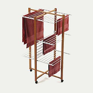 Italian Design Folding Wooden 3-Tier Tower Clothes Airer alt image 4