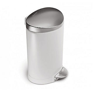 simplehuman Mini Semi-Round Pedal Bin - White 6L