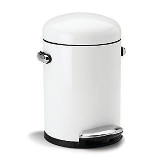 simplehuman Retro Bathroom Pedal Bin White 4.5L