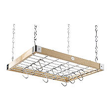 Hahn Classic Square Ceiling Rack Natural Pine with Chrome Hooks