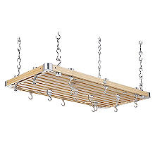 Hahn Large Rectangular Ceiling Rack Natural Pine with Hooks