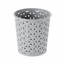Faux Rattan Small Storage Pot Grey
